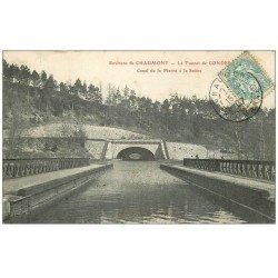 carte postale ancienne 52 CONDES. Le Tunnel du Canal de la Marne à la Saônr 1907