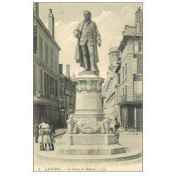 carte postale ancienne 52 LANGRES. La Statue de Diderot et Maison de la Belle Jardinière