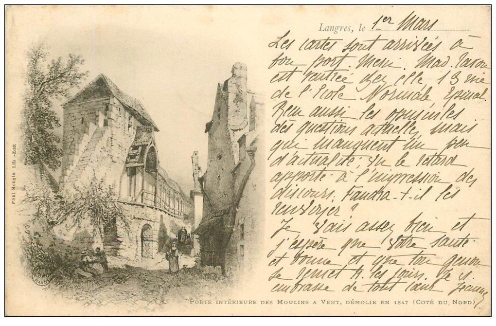 carte postale ancienne 52 LANGRES. Porte des Moulins à Vent. Beat Timbre 10 Centimes 1901