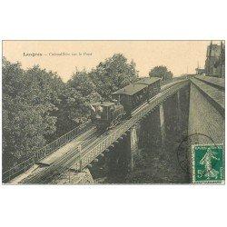 carte postale ancienne 52 LANGRES. Train à Crémaillière sur le Pont 1912