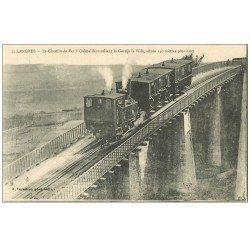 carte postale ancienne 52 LANGRES. Train à Crémaillière sur le Pont du Chemin de Fer