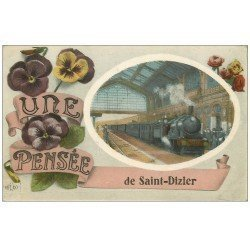 carte postale ancienne 52 SAINT-DIZIER. Fantaisie. Train en Gare