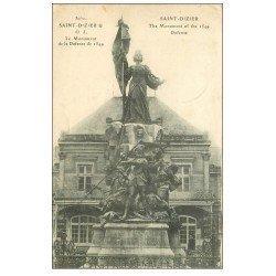 carte postale ancienne 52 SAINT-DIZIER. Monument de la Défense avec personnage