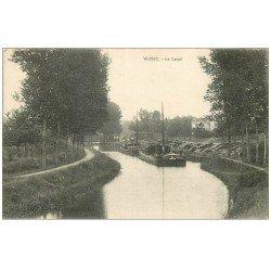 carte postale ancienne 52 WASSY. Péniches sur le Canal