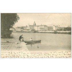 carte postale ancienne 53 CHATEAU-GONTIER. Pêcheur à la ligne et l'Hôpital 1902. Ecriture étrange...
