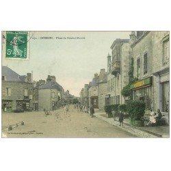carte postale ancienne 53 GORRON. Place du Général Barabé 1908 avec Coiffeur