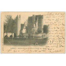 carte postale ancienne 53 LASSAY. Château des Sires du Mopulin 1904. Ecriture bizare