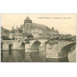 carte postale ancienne 53 LAVAL. Château et Vieux Pont