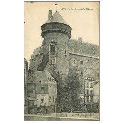 carte postale ancienne 53 LAVAL. Donjon du Château 1915 Café de l'union