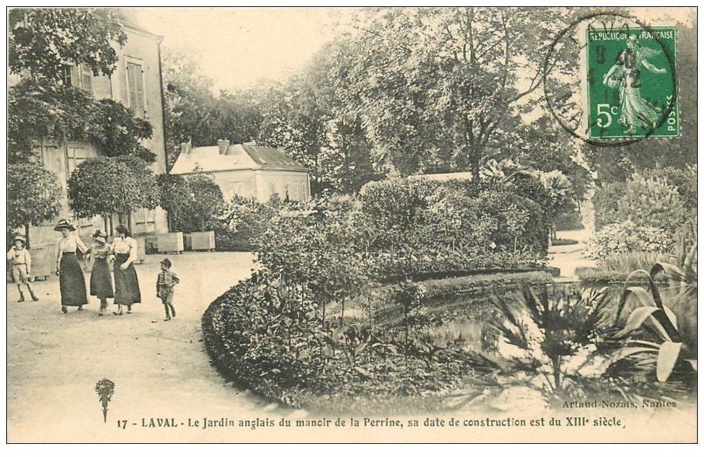 carte postale ancienne 53 LAVAL. Jardin Angais Manoir de la Perrine 1913