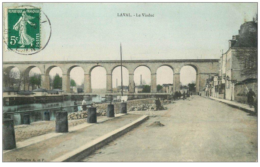 carte postale ancienne 53 LAVAL. Le Viaduc en couleurs 1909