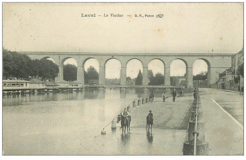 carte postale ancienne 53 LAVAL. Le Viaduc et Chevaux