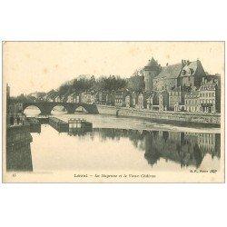 carte postale ancienne 53 LAVAL. Mayenne et Vieux Château. Ecluse