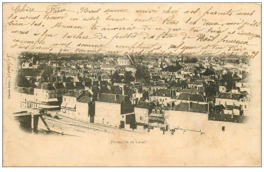 carte postale ancienne 53 LAVAL. Panorama 1905