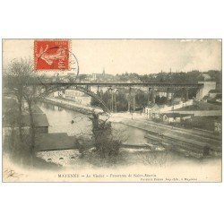 carte postale ancienne 53 MAYENNE. Le Viaduc et Saint-Martin 1907