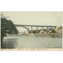 carte postale ancienne 53 MAYENNE. Viaduc métallique Quai de la République 1905