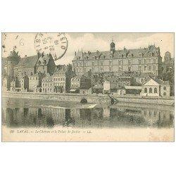carte postale ancienne 53 VIEUX LAVAL. Château et Palais de Justice 1918