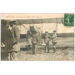 carte postale ancienne 54 ARRACOURT. Atterrissage Biplan Militaire Allemand 1913. Aéroplane Avion Pilote