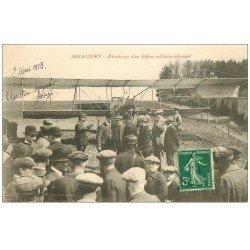 carte postale ancienne 54 ARRACOURT. Atterrissage Biplan militaire Allemand 1913. Avion Aéroplane et Aviation