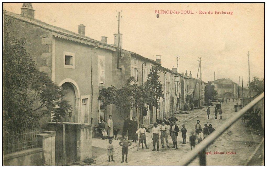 carte postale ancienne 54 BLENOD-LES-TOUL. Rue du Faubourg envoyée qu'en 1937