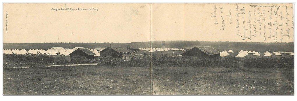 carte postale ancienne 54 CAMP DE BOIS-L'EVÊQUE. Carte double 1906. 28.5 x 9 cm