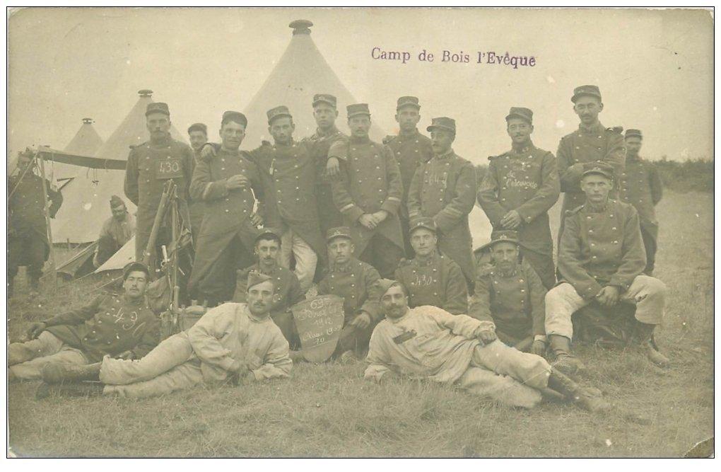 carte postale ancienne 54 CAMP DE BOIS-L'EVÊQUE. Militaires 1912 du 69° Régiment