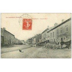 carte postale ancienne 54 CHAMBLEY. Grande Rue 1911 Cafés de la Poste et du Commervce
