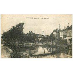 carte postale ancienne 54 CHAMPIGNEULLES. La Passerelle 1918