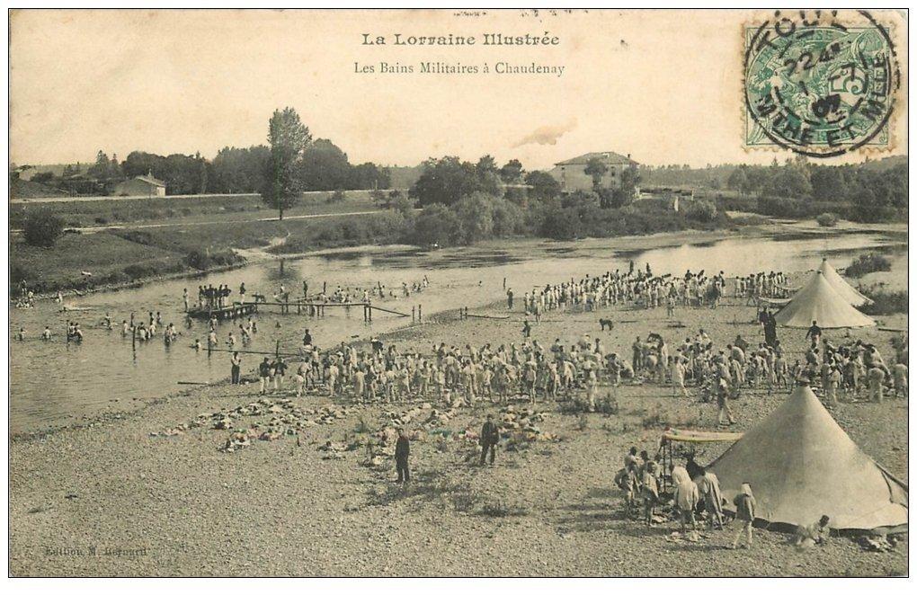 carte postale ancienne 54 CHAUDENAY. Les Bains Militaires 1907