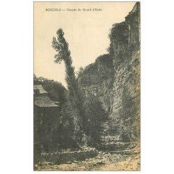 carte postale ancienne 12 BOZOULS. Cascade du Gourd d'Enfer 1915