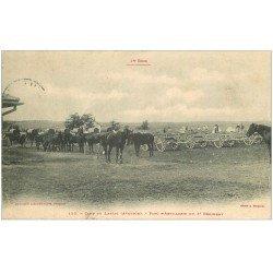 carte postale ancienne 12 Camp du Larzac. Parc d'Artillerie du 3° Régiment 1904 avec Chevaux