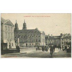carte postale ancienne 54 LUNEVILLE. Pont du Canal Place du Château 1916