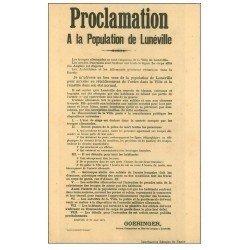 carte postale ancienne 54 LUNEVILLE. Proclamation à la Population de 1914