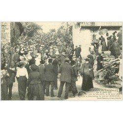 carte postale ancienne 12 Fêtes de LACALM 1913. Les Rues pour la Décoration du Clairon Rolland