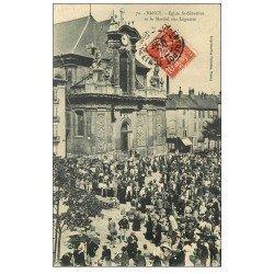 carte postale ancienne 54 NANCY. Le Marché aux Légumes et Eglise Saint-Sébastien 1909