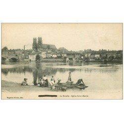 carte postale ancienne 54 PONT-A-MOUSSON. Eglise Saint-Martin en Laveuses Lavandières 1916 avec leurs Enfants