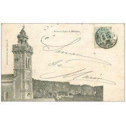 carte postale ancienne 54 PONT-A-MOUSSON. Ruines t Eglise 1906