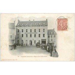 carte postale ancienne 12 LAGUIOLE. Place de la Patte d'Oie vers 1906. Hôtel Régis