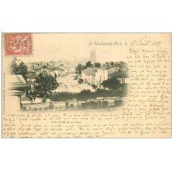 carte postale ancienne 1899 Top Rare 54 SAINT-NICOLAS-DU-DE-PORT. Vue de la Gare. Oblitéré 1902...