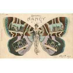 carte postale ancienne 54 NANCY. Femme Papillon multivues 1907