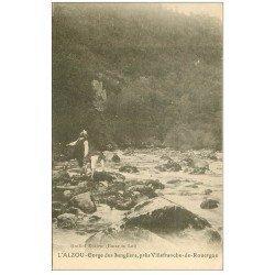 carte postale ancienne 12 L'ALZOU. Pêcheurs aux Gorges des Sangliers