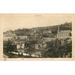 carte postale ancienne 12 LE GUA. Eglise et Mairie 1936