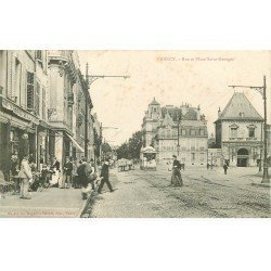 carte postale ancienne 54 NANCY. Rue et Place Saint-Georges Facteur devant Café Bellevue