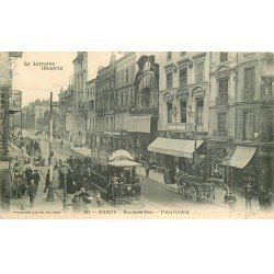 carte postale ancienne 54 NANCY. Point-Central rue Saint-Jean Tramway à filet 1905