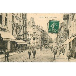 carte postale ancienne 54 NANCY. Point-Central rue Saint-Jean Banque National et Restaurant La Lorraine 1912