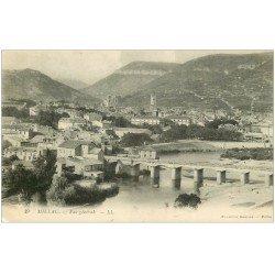 carte postale ancienne 12 MILLAU. Vue générale et sur le Pont