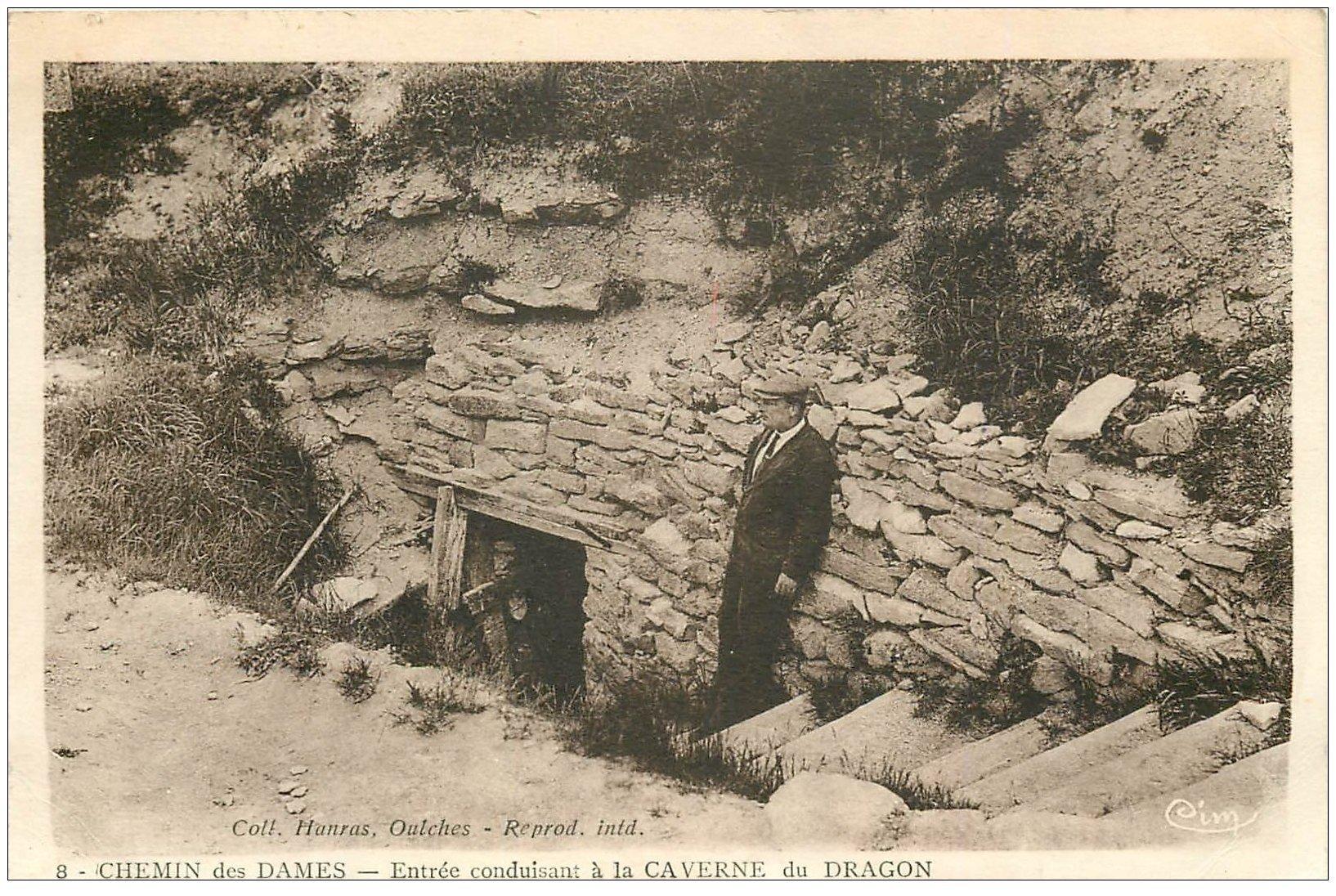 carte postale ancienne 02 CHEMIN DES DAMES. Entrée Caverne du Dragon 1937