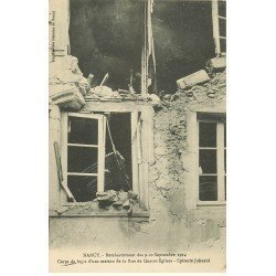 carte postale ancienne 54 NANCY. Bombardement Rue des Quatre-Eglises Epicerie Jolivald