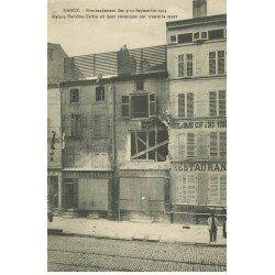 carte postale ancienne 54 NANCY. Bombardement Maison Hanrion-Terlin restaurant Hôtel du Cerf des Vosges