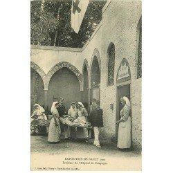 carte postale ancienne 54 NANCY. Exposition Hôpital de Campagne Brancardiers et Infirmières Salle Opération Croix Rouge